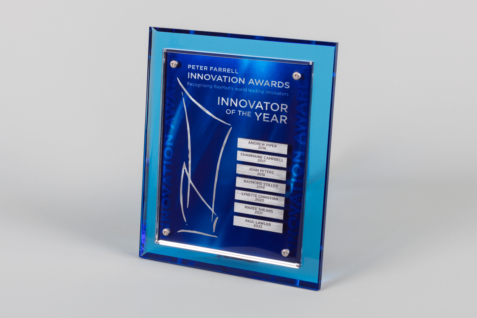 Perpetual Award Plaque Champion series Corporate by Lasercraft.com.au (Blue Acrylic - Australian Made - Trophies - Business - Recognition - Employees - Wall - Program) - SKU:S1615MP - Pic-01